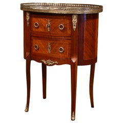 Midcentury French Louis XV Walnut Parquetry Chest of Drawers with Marble Top