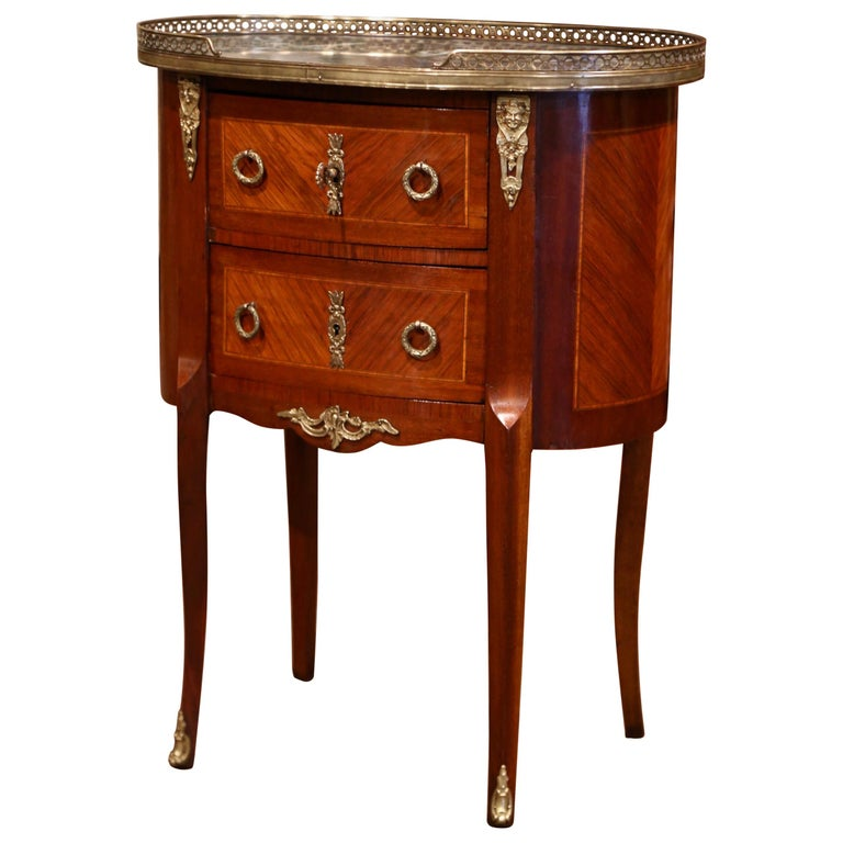 Midcentury French Louis XV Walnut Parquetry Chest of Drawers with Marble Top For Sale