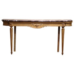 Midcentury French Louis XVI Carved and Painted Console Table with Marble Top