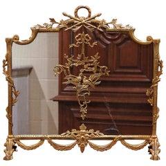 Midcentury French Louis XVI Gilt Brass Fireplace Screen with Bird Decor