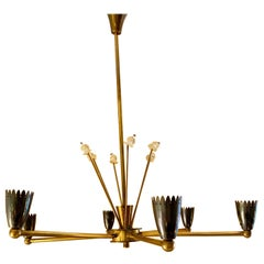 Midcentury French Maison Arlus Six Arms Chandelier