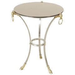 Midcentury French Maison Charles Brass and Steel Gueridon Side Table Rams Heads