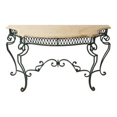 Midcentury French Marble & Iron Poillerat-Style Console Table