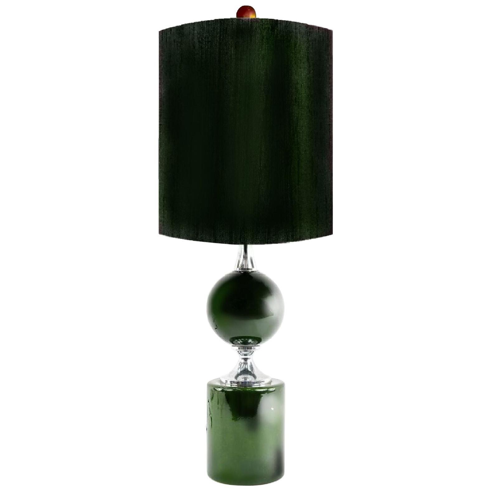 Midcentury French Modern Enameled Brass Geometric Lamp, Green, Maison Barbier