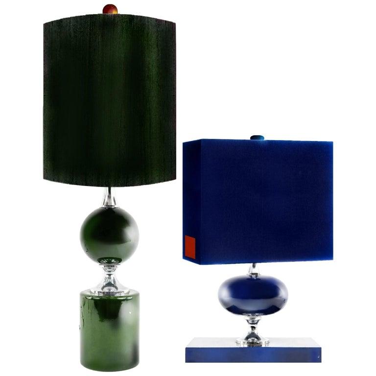 Midcentury French Modern Enameled Brass Geometric Lamp Pair, Maison Barbier For Sale