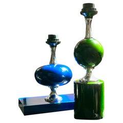 Midcentury French Modern Enameled Brass Geometric Lamp Pair, Maison Barbier