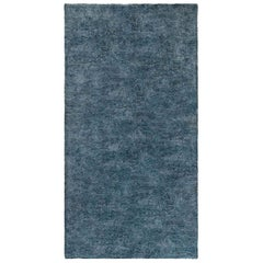 Midcentury French Modernist Blue Handmade Wool Rug