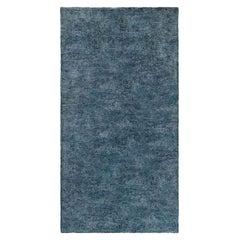 Midcentury French Modernist Blue Handmade Wool Rug