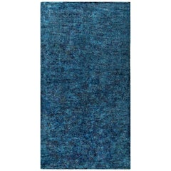 Midcentury French Modernist Handwoven Wool Rug in Blue