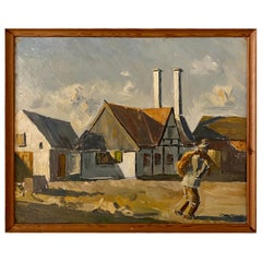 Midcentury French Oil Painting of a Landscape in Original Frame, circa 1940