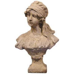 Midcentury French Outdoor Weathered Cast Stone Statuary Woman Bust