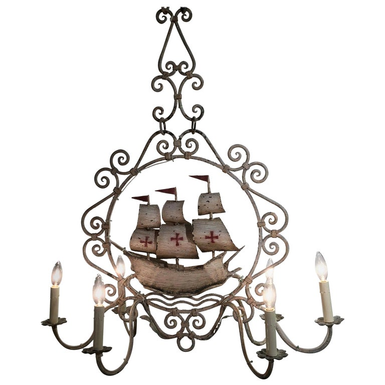 Midcentury, French Painted Iron Six-Light Sailboat Chandelier For Sale