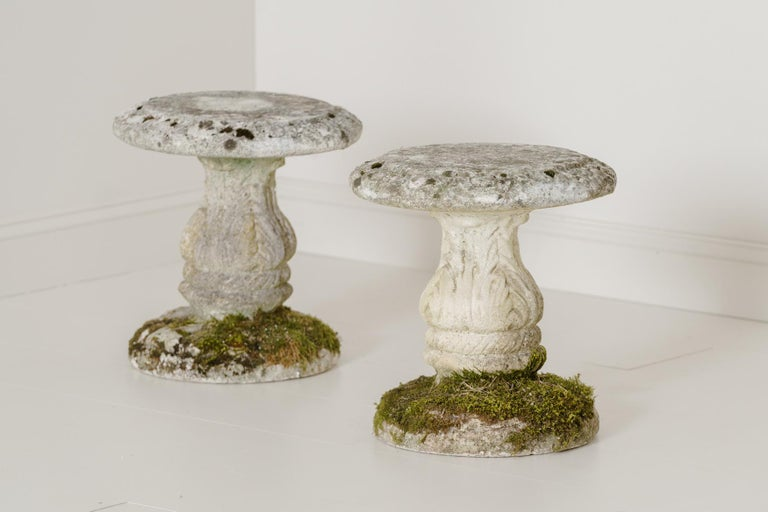 Midcentury French Pair of Cement Garden Stools For Sale 6