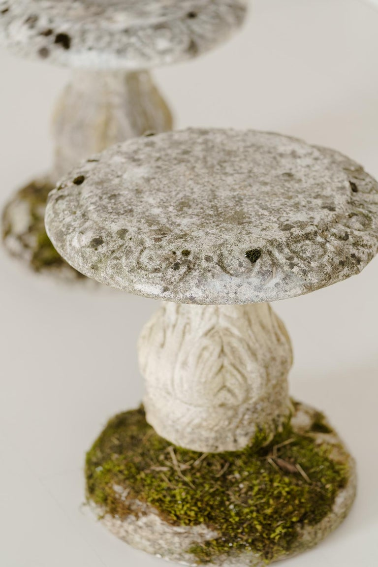 20th Century Midcentury French Pair of Cement Garden Stools For Sale