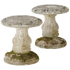 Midcentury French Pair of Cement Garden Stools