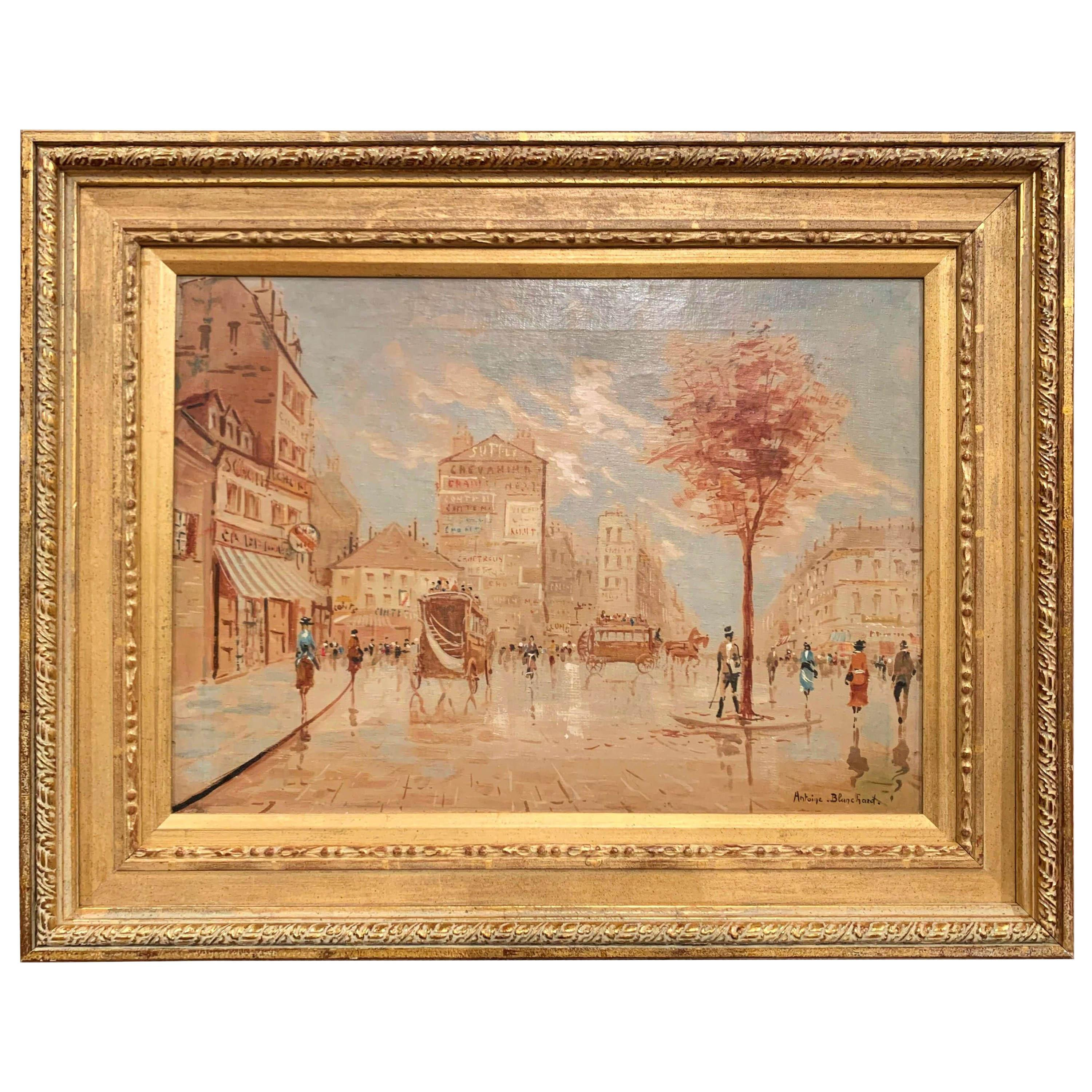 Midcentury French Parisian Scene Oil Painting in Gilt Frame Signed A. Blanchard
