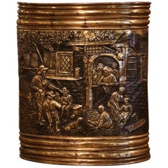 Midcentury French Patinated Repousse Copper Basket with Pastoral Scene
