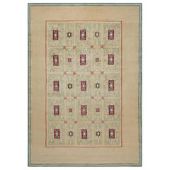 Midcentury French Paule Leleu Hand Knotted Wool Rug in Beige, Green and Burgundy