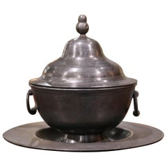 Midcentury French Pewter Platter and Tureen Covered Dish Centerpiece