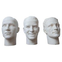 Midcentury French Plaster Mannequin Mould Heads