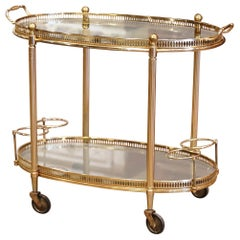 Midcentury French Polished Brass Dessert Table or Bar Cart on Wheels