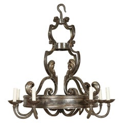 Midcentury French Polished Steel Eight Light Acanthus Leaves Ring Chandelier