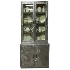 Tall Midcentury French Industrial Polished Steel and Glass Cabinet
