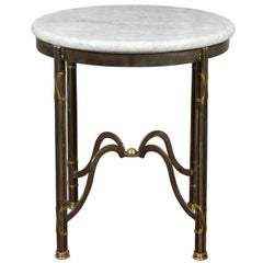 Midcentury French Polished Steel Side Table with Round White Marble Top