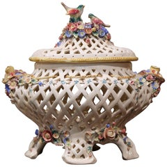 Midcentury French Porcelain Center Piece Tureen with Bird and Floral Decor