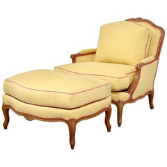 Midcentury French Provincial Ashley Manor Printemps Armchair Lounge and Ottoman