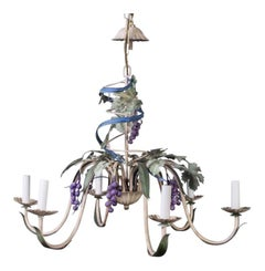 French Provincial Polychrome Figural Toleware Chandelier, Mid-century, Six-Light