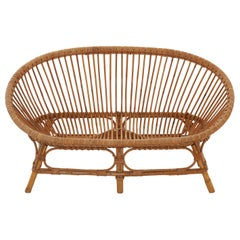 Midcentury French Rattan and Bamboo Settee