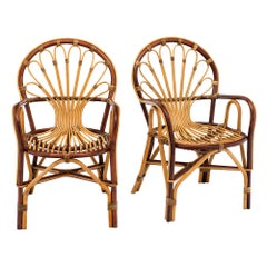 Midcentury French Rattan Armchairs