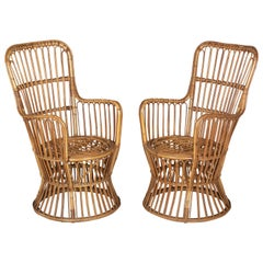 Midcentury French Rattan Armchairs, Pair