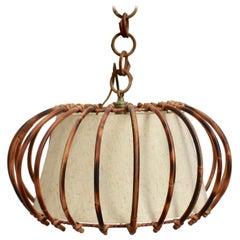 Midcentury French Rattan Pendant Lamp, circa 1960s