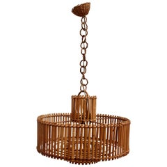 Midcentury French Rattan Pendant Lamp with Chain 'circa 1960s'
