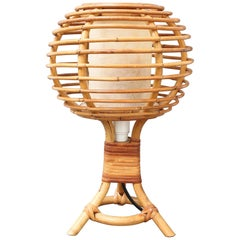 Midcentury French Rattan Table Lamp, 'circa 1960s'
