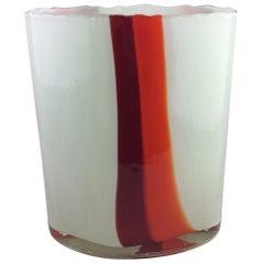 Midcentury French Red White Orange Swirl Art Glass Vase, Style Roland Brice