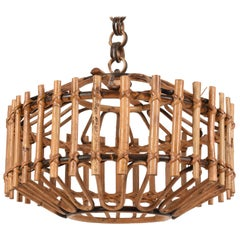 Midcentury French Riviera Bambo and Rattan Italian Chandelier, 1960s