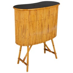 Midcentury French Riviera Bamboo and Rattan Bar