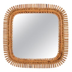 Midcentury French Riviera Bamboo and Rattan Frame Square Wall Mirror, 1960s