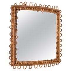 Midcentury French Riviera Bamboo and Rattan Frame Squared Wall Mirror, 1960s
