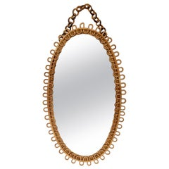 Midcentury French Riviera Bamboo and Rattan Italian Oval Mirror, 1950s