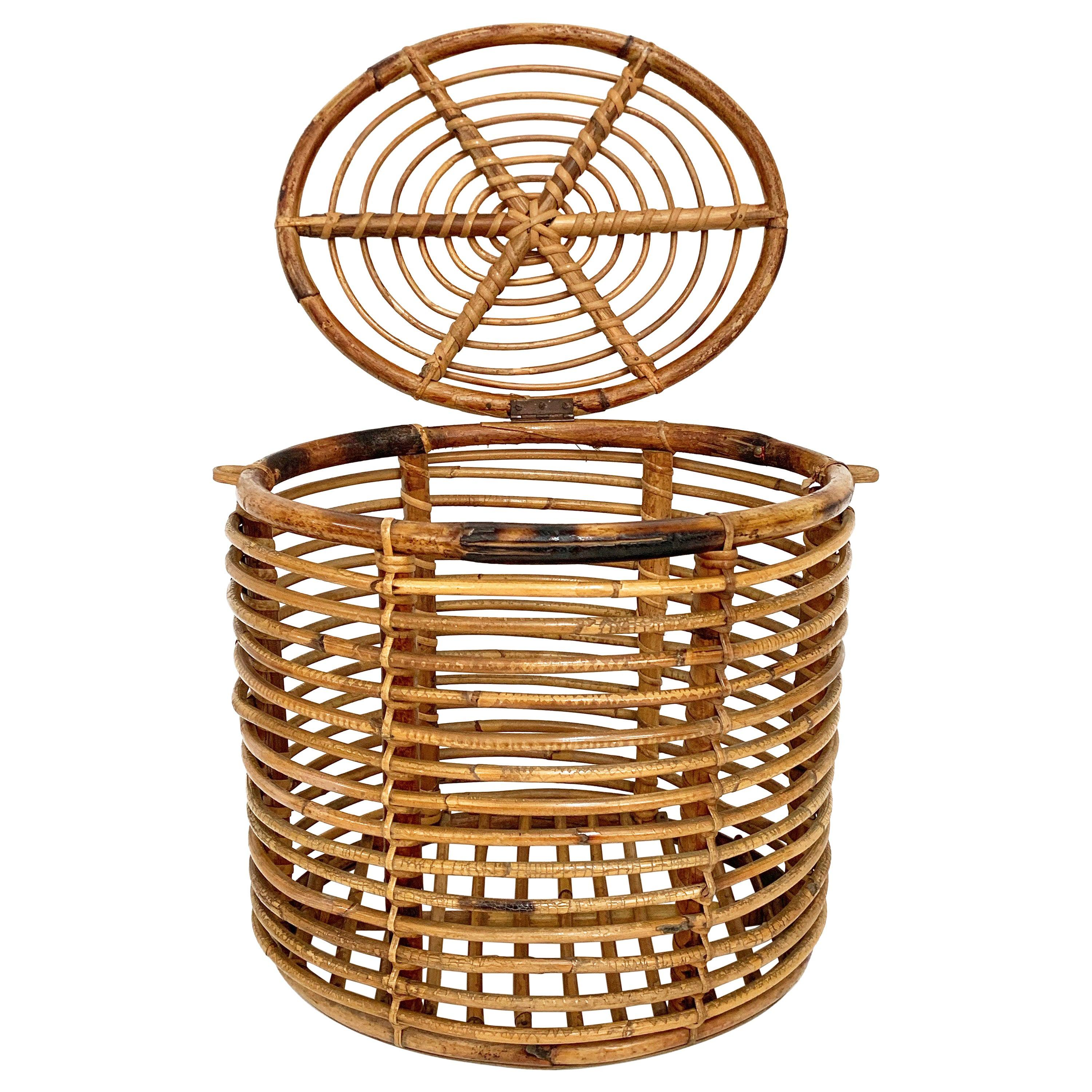 Midcentury French Riviera Bamboo and Rattan Oval Italian Basket, 1950s