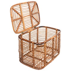 Midcentury French Riviera Bamboo and Rattan Rectangular Italian Basket, 1960s