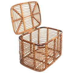 Midcentury French Riviera Bamboo and Rattan Rectangular Italian Basket, 1960s