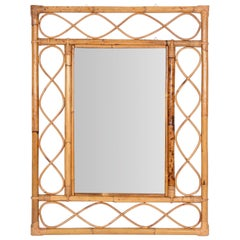 Midcentury French Riviera Bamboo and Rattan Rectangular Wall Mirror France 1960s