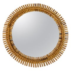 Midcentury French Riviera Bamboo and Rattan Round Wall Mirror, 1960s