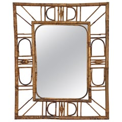 Midcentury French Riviera Bamboo and Rattan Wall Mirror, 1960s
