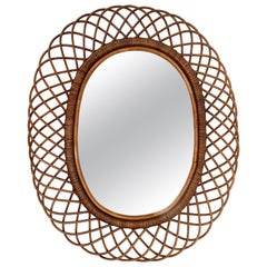 Midcentury French Riviera Curved Rattan and Bamboo Italian Oval Mirror, 1960s